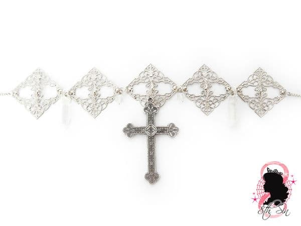 Antique Silver Cross Choker Necklace